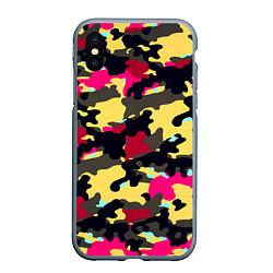 Чехол iPhone XS Max матовый Камуфляж: желтый/черный/розовый цвета 3D-серый — фото 1