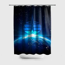 Шторка для душа Космические войска цвета 3D-принт — фото 1