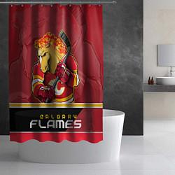 Шторка для душа Calgary Flames цвета 3D — фото 2
