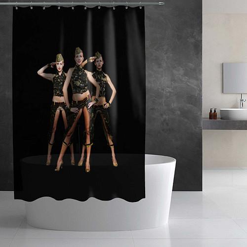 Шторка для ванной Армейские девушки / 3D – фото 2