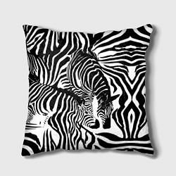 Подушка квадратная Полосатая зебра цвета 3D-принт — фото 1