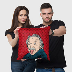 Подушка квадратная Альберт Эйнштейн: Поп-арт цвета 3D — фото 2