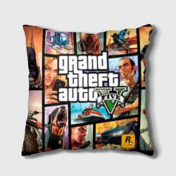 Подушка квадратная GTA 5: City Stories цвета 3D-принт — фото 1