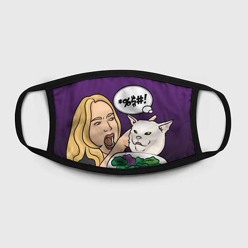 Маска для лица Woman yelling at a cat / 3D – фото 2