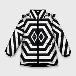 Куртка зимняя для девочки EXO Geometry цвета 3D-черный — фото 1
