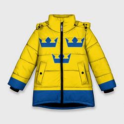 Куртка зимняя для девочки Сборная Швеции: домашняя форма цвета 3D-черный — фото 1