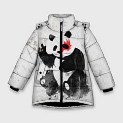 Куртка зимняя для девочки Рок-панда цвета 3D-черный — фото 1