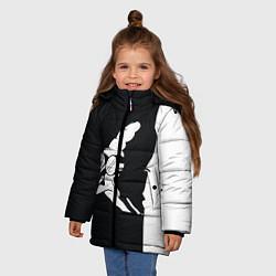 Детская зимняя куртка для девочки с принтом Grandfather: Black & White, цвет: 3D-черный, артикул: 10109127806065 — фото 2