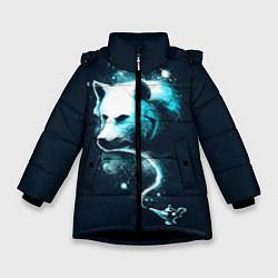 Куртка зимняя для девочки Галактический волк цвета 3D-черный — фото 1