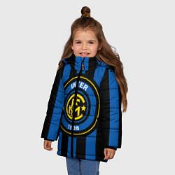 Детская зимняя куртка для девочки с принтом Inter FC 1908, цвет: 3D-черный, артикул: 10113557906065 — фото 2