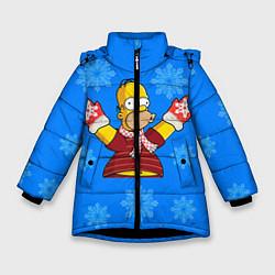 Куртка зимняя для девочки Новогодний Гомер цвета 3D-черный — фото 1