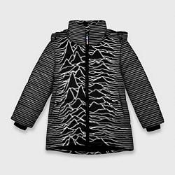 Детская зимняя куртка для девочки с принтом Joy Division: Unknown Pleasures, цвет: 3D-черный, артикул: 10115691506065 — фото 1