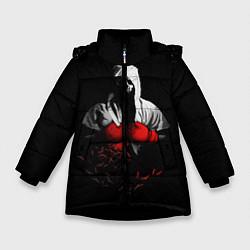 Куртка зимняя для девочки Мертвый боксер цвета 3D-черный — фото 1