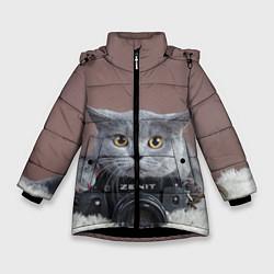 Куртка зимняя для девочки Котик фотограф цвета 3D-черный — фото 1