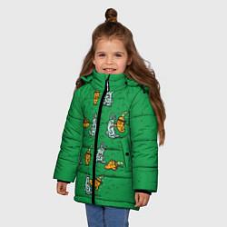 Детская зимняя куртка для девочки с принтом Боевая морковь, цвет: 3D-черный, артикул: 10117527206065 — фото 2