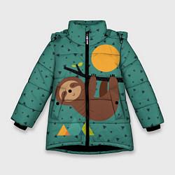 Куртка зимняя для девочки Довольный ленивец цвета 3D-черный — фото 1