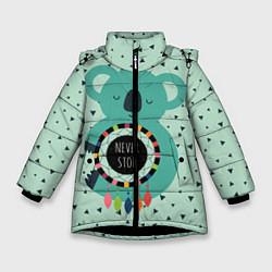 Куртка зимняя для девочки Мечтающая коала цвета 3D-черный — фото 1