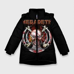 Куртка зимняя для девочки Megadeth: Skull in chains цвета 3D-черный — фото 1