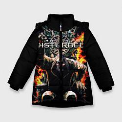 Куртка зимняя для девочки Disturbed: Flame Throne цвета 3D-черный — фото 1