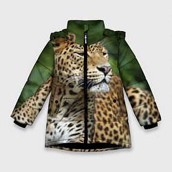 Куртка зимняя для девочки Лик леопарда цвета 3D-черный — фото 1