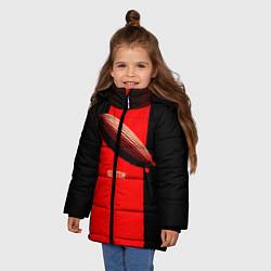 Куртка зимняя для девочки Led Zeppelin: Red line цвета 3D-черный — фото 2
