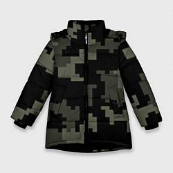 Куртка зимняя для девочки Камуфляж пиксельный: черный/серый цвета 3D-черный — фото 1