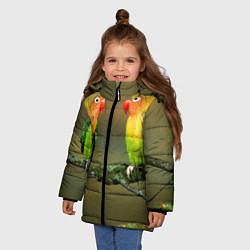 Куртка зимняя для девочки Два попугая цвета 3D-черный — фото 2