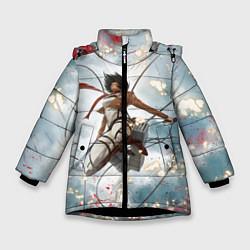 Куртка зимняя для девочки Атака Титанов цвета 3D-черный — фото 1