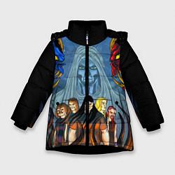 Детская зимняя куртка для девочки с принтом Dethklok: Heroes, цвет: 3D-черный, артикул: 10134389106065 — фото 1