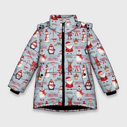 Куртка зимняя для девочки Рождественская Милота цвета 3D-черный — фото 1