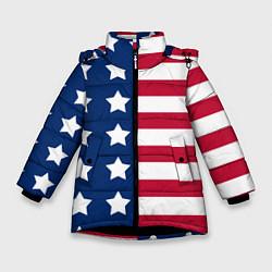 Куртка зимняя для девочки USA Flag цвета 3D-черный — фото 1