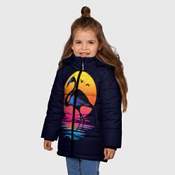 Куртка зимняя для девочки Фламинго – дитя заката цвета 3D-черный — фото 2