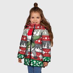 Куртка зимняя для девочки Panda Dab: Xmas цвета 3D-черный — фото 2