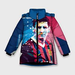 Детская зимняя куртка для девочки с принтом Lionel Messi, цвет: 3D-черный, артикул: 10141374106065 — фото 1