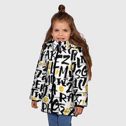 Куртка зимняя для девочки Letters bombing цвета 3D-черный — фото 2