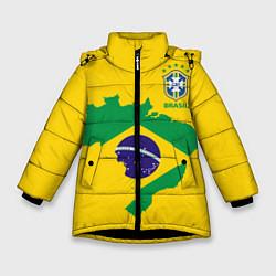 Детская зимняя куртка для девочки с принтом Сборная Бразилии: желтая, цвет: 3D-черный, артикул: 10143140306065 — фото 1