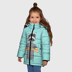 Куртка зимняя для девочки Влюбленный мистер енот цвета 3D-черный — фото 2