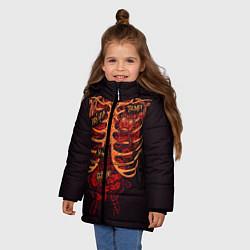 Куртка зимняя для девочки Человеческий скелет цвета 3D-черный — фото 2