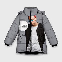 Детская зимняя куртка для девочки с принтом T-Fest: Grey Style, цвет: 3D-черный, артикул: 10147368706065 — фото 1