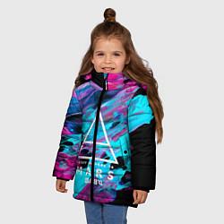 Куртка зимняя для девочки 30 STM: Neon Colours цвета 3D-черный — фото 2
