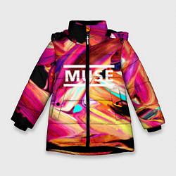 Куртка зимняя для девочки MUSE: Neon Colours цвета 3D-черный — фото 1