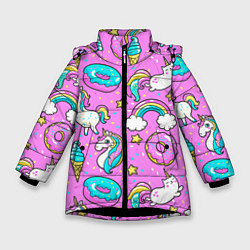 Куртка зимняя для девочки Сказочные единороги цвета 3D-черный — фото 1