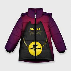 Куртка зимняя для девочки Кот Бегемот цвета 3D-черный — фото 1