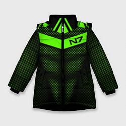 Куртка зимняя для девочки N7: Green Armor цвета 3D-черный — фото 1