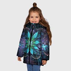 Куртка зимняя для девочки Астральная мандала цвета 3D-черный — фото 2