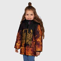 Детская зимняя куртка для девочки с принтом Slayer: Fire Eagle, цвет: 3D-черный, артикул: 10155330106065 — фото 2