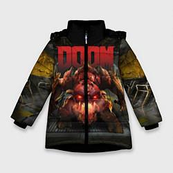 Куртка зимняя для девочки DOOM: Pinky Monster цвета 3D-черный — фото 1