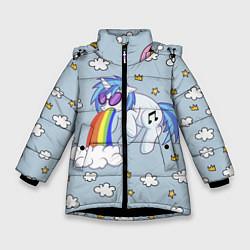 Детская зимняя куртка для девочки с принтом Рарити пони, цвет: 3D-черный, артикул: 10159333106065 — фото 1