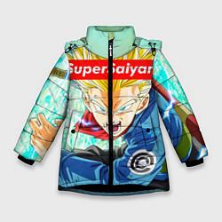 Куртка зимняя для девочки DBZ: Super Saiyan цвета 3D-черный — фото 1