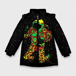 Куртка зимняя для девочки Космонавт с кальяном цвета 3D-черный — фото 1